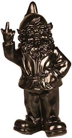 Stoobz Figura enanito de jardín travieso sacando el dedo - para casa y jardín - negro - 15 x 12 x 32 cm: Amazon.es: Hogar