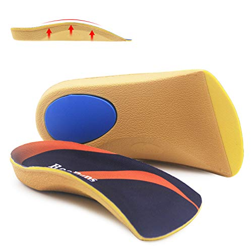 3/4 Length Orthotic Inserts, RooRuns Half Shoe Insoles for Flat Feet, Plantar Fasciitis, Feet Fatigue, Lower Back Pain Relief - Arch Support for Men, Woman - For Walking, Running, Exercises
