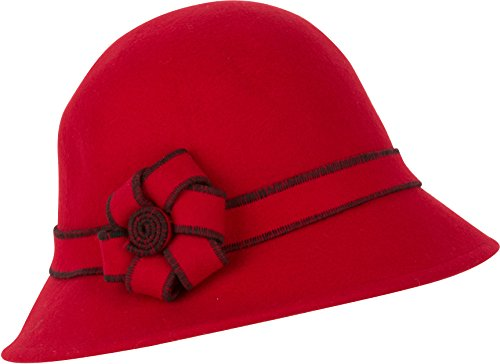 Sakkas 20M Molly Vintage Style Wool Cloche Hat - Red - One - Red Wool Satin Hat Felt