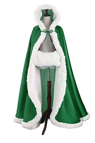 (Wedding Cape Hooded Cloak for Bride Winter Reversible with Fur Trim Free Hand Muff Full Length 50'')