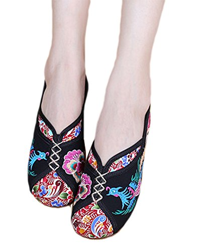 AvaCostume Traditional Phoenix Embroidery Wedge Heel Oxfords Sole Shoes Black