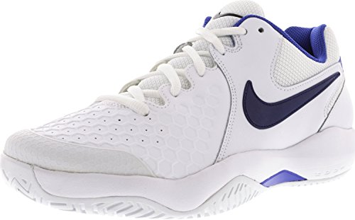 Zoom Leather - NIKE Women's Air Zoom Resistance Tennis Shoes (6.5 B(M) US, White/Binary Blue/Mega Blue)