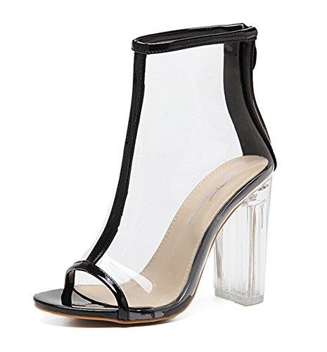 Noir Mode Transparent Femme Cristal Sandales Peep Aisun Toe Chunky q5pg5C