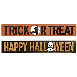 HAPPY DEALS ~ Set of 2 Different - Halloween Signs - Halloween Tabletop Block Signs and Decor 14.5 X 2.5