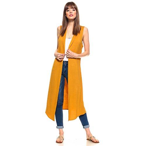 Isaac Liev Women's Sleeveless Lightweight Duster Vest (Medium, Mustard)