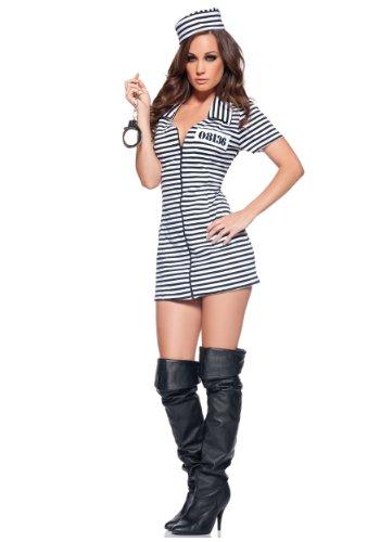 Female Jailbird Costume (Underwraps Women's Miss Behaved, Black/White, X-Large)