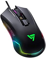 VicTsing Gaming Maus, Gamer Maus 7250 DPI, 6 programmierbare Tasten USB Wired Gaming Mouse für Pro Gamer, RGB Hintergrundeffkte, Ergonomisches Design für Computer, Laptop, PC