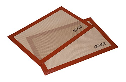 Artisan Silicone Baking Mat for Half-Size Cookie Sheet with Red Border, 16.5 x 11 inches, 2-Pack ()