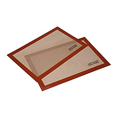 Artisan Silicone Baking Mat for Half-Size Cookie Sheet with Red Border, 16.5 x 11 inches, 2-Pack