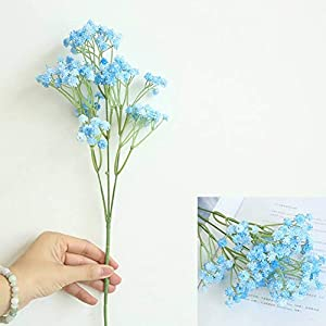 Yinrunx 135 Heads Baby Breath Flowers Artificial Gypsophila Flowers Fake Bouquet Floral for Home Party Wedding Decorations(Blue) 2