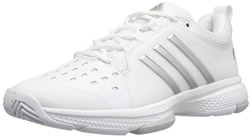 adidas Performance Women's Barricade Classic Bounce W Tennis Shoes, White/Metallic Silver/Light Solid Grey Heather, (8 Medium US)