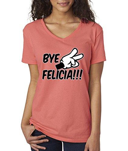 Cartoon New Shirt (New Way 432 - Women's V-Neck T-Shirt Bye Felicia Cartoon Hands Peace Funny Humor Friday Movie 2XL Coral)