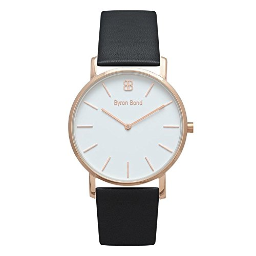 (38mm Ultra Thin Slim Case Minimalist Fashion Watch for Men & Women by Byron Bond (Wardour - Rose Gold Case with White Dial and Black Leather)
