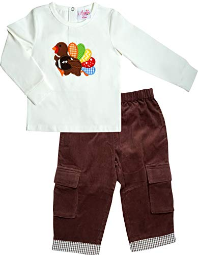 Angeline Baby Toddler Boys Thanksgivings Day Football Turkey Pant Set