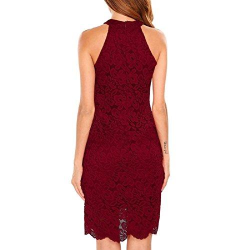 Party Lace Sexy Sheath Summer Dress Dress Elegant Short Club Women Dress Night Halter Red Neck Sleeveless Bodycon Color 2017 0qHEF0OZ