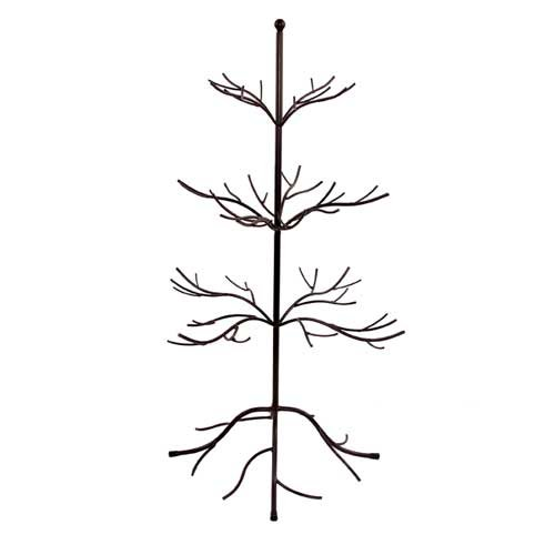(Small Metal Bare Tree Silhouette, Rustic Ornament Display, 3-tier Branches, 27-inch)