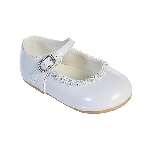 Girls White Glitter Rhinestone Accents Mary Jane Dress Shoes 3 Baby (Kids Dresses Top Tip)