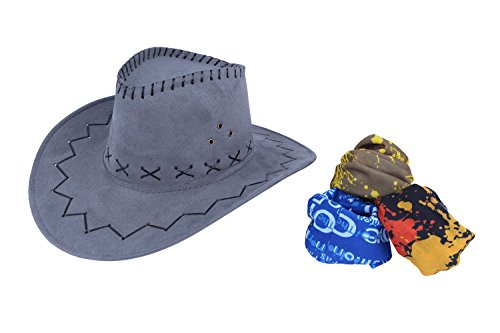 Cowboy Hats for Men and Women, Adult Western Hat Suede Cap with Magic Bandanna (Cheap Masquerade Masks In Bulk)