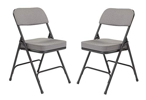 - National Public Seating 3200 Series Steel Frame Upholstered Premium Fabric Seat and Back Folding Chair with Double Brace, 300 lbs Capacity, Charcoal Gray/Black (Carton of 2)