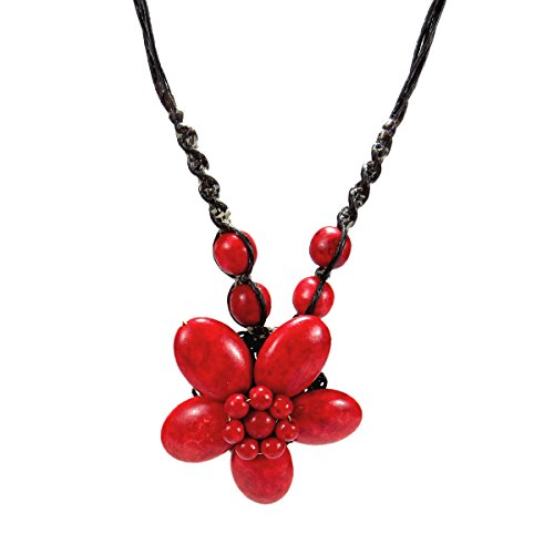 Wonderful Red Coral Necklace (Charming Reconstructed Red Coral Stone Flower Handmade Necklace)