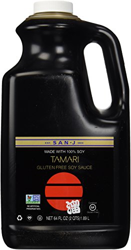 San-J Tamari Gluten Free Soy Sauce, Non GMO Black Label, 64 Ounce (Best Quality Soy Sauce)