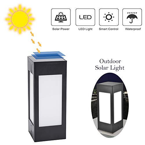 - Aogist Solar Post Light,Solar Powered Pillar Light Outdoor 8 LED Lantern Waterproof and Decorative Light for Garden,Park,Restaurant,Porch,Driveway,Patio, Deck,White