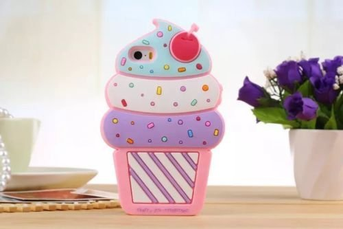 Cute 3D Cherry Ice Cream Silicone Soft Case Bumper Back Cover for iPhone 5c ()