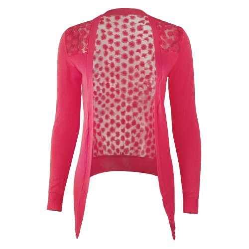 MIOIM Women's Long Sleeved Lace Crochet Flower Knitted Blouse Cardigan Tops Shirt (Cashmere Cotton Twin Set)