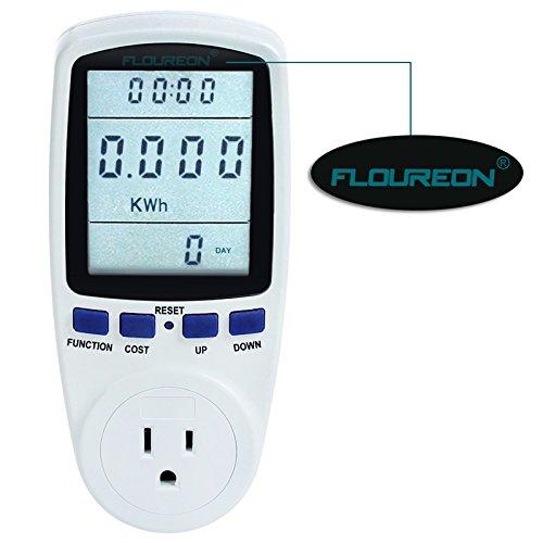 FLOUREON Power Meter Energy Power Monitor LCD Display AC 110V~130V 15A Max US Socket Power Consumption Cost Meter Watt Voltage Amp Meter Calculator (15a Watts)