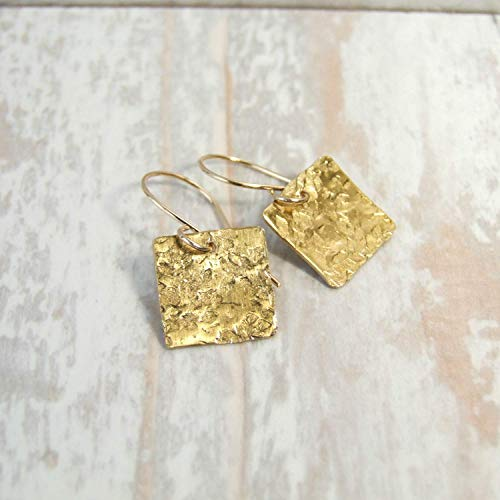 Hammered Square Brass Metal Drop Earrings with Handcrafted 14k Goldfilled Earwires - Handmade Metalwork Modern Everyday Jewelry for Women - Earwire Metal