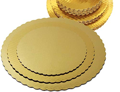 (Round Gold Cake Boards Bundle - 30 Pieces - 8 10 & 12 Inches (10 Each Size) - Disposable Cake Tray Scalloped Cake Base Board Stackable Pizza Rounds Ti)