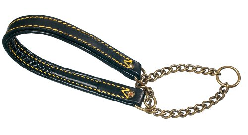 Petego La Cinopelca Padded Leather Semi-Choke Collar, Black 3/5 Inches by 19 5/8 Inches