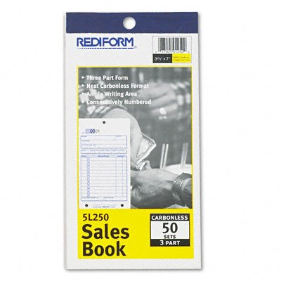 Sales Book, 3-5/8 X 6 3/8, Carbonless Triplicate, 50 Sets/Book [Set of 2]