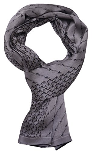 Man's 100 Pure silk scarf wrap Accessory gift (SilverGray Chain) ()