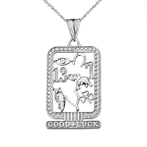 Fine Sterling Silver Ancient Egyptian Good Luck Cartouche Pendant Necklace, -