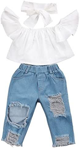 KONFA Baby Girls Summer Fashion Off-Shoulder Tops+Denim Pants+Headband Little Kids Toddler 1-5 Years Old 3Pcs Outfits
