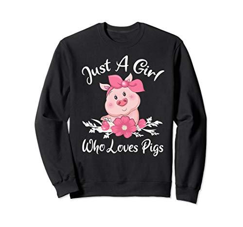 (Just a Girl who Loves Pigs Shirt Cute Pig Bandana Sweatshirt)