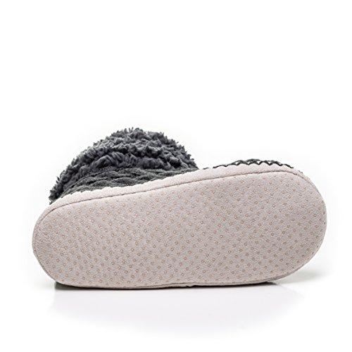 Pantofole Da Interno Corte Da Donna Nobile Con Motivo Sfocato A Maglia Interna Grigio Scuro