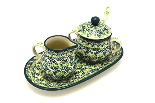 Polish Pottery Cream & Sugar Set with Sugar Spoon - Irish Meadow