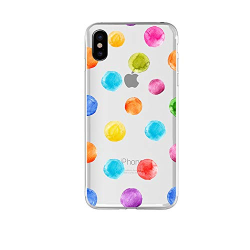 iPhone X Case/iPhone Xs Case,Blingy's New Cute Watercolor Dots Style Transparent Clear Soft TPU Protective Case Compatible for iPhone X and iPhone Xs (Gumdrops)