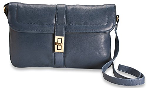 Brunhide # 115-300 - Bolso de mano con hebilla - Piel auténtica Azul