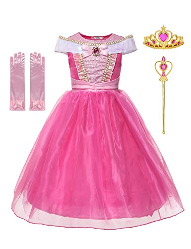 Little Girls Layered Princess Sleeping Beauty Aurora Costume With Crown, Wand and Gloves