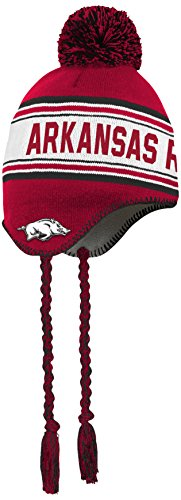 (NCAA by Outerstuff NCAA Arkansas Razorbacks Toddler Jacquard Tassel Knit Hat w/ Pom, Victory Red, Toddler One Size)