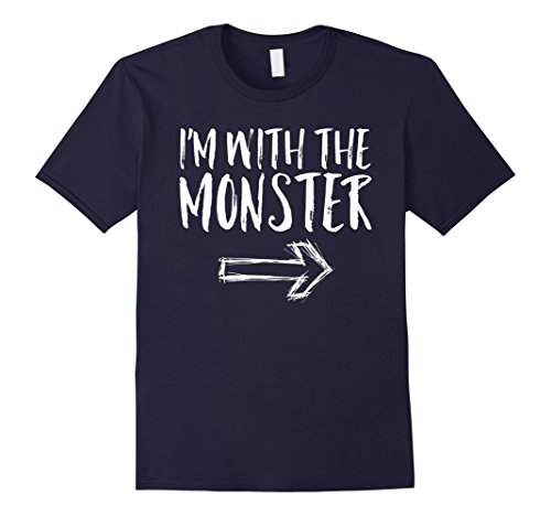 Mens I'm With The Monster Halloween Costume Funny Cute Shirt XL Navy (Witty Halloween Costumes For Guys)