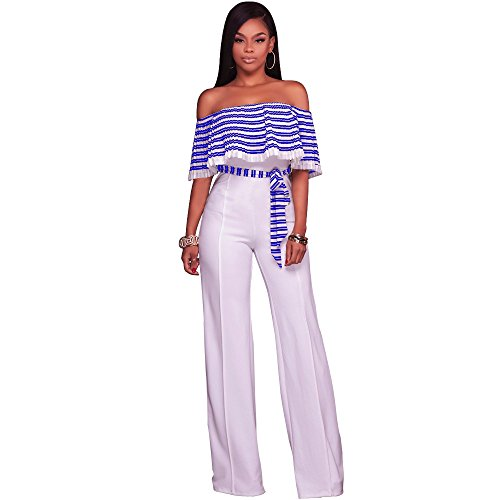 Women Off Shoulder Stripe Ruffle Wide Leg Long Pants Jumpsuits Rompers Blue White, Medium