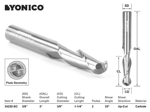 Yonico 34230-SC 3/8-Inch Dia. 2 Flute Ball Nose Spiral End Mill CNC Router Bit 3/8-Inch Shank