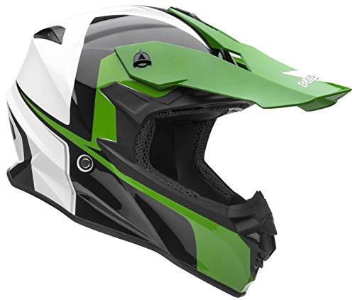 Vega Helmets VF1 Lightweight Dirt Bike Helmet - Off-Road Full Face Helmet for ATV Motocross MX Enduro Quad Sport, 5 Year Warranty (Hi-Vis Green Stinger Graphic, Medium)