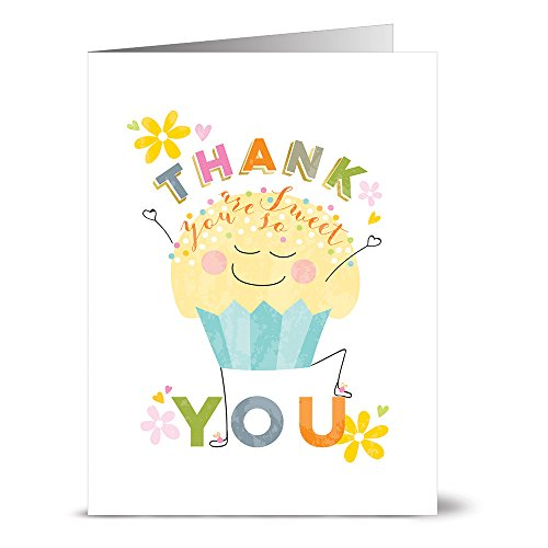 24 Thank You Note Cards - Thank You Cupcake - Blank Cards - Yellow Envelopes -