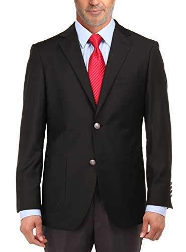 Wool 2 Button Single (Salvatore Exte Men's 2 Button Suit Separate Jacket Sport Coat Blazer (46 Long US / 56 Long EU, Black))