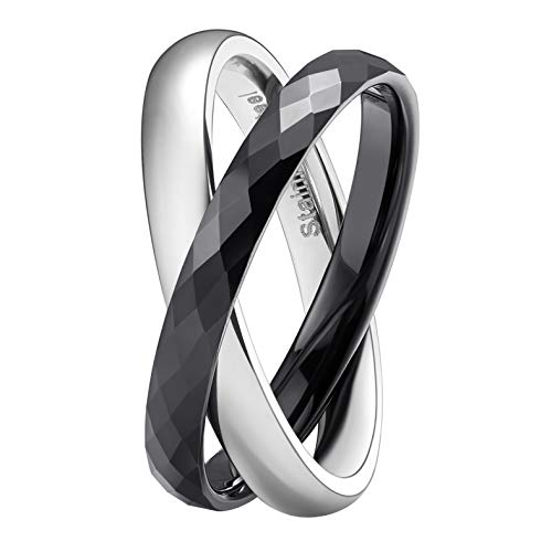 (SHINYSO 3MM Tungsten Carbide & Stainless Steel Crossing Rings Two-Tone Interlocked High Polished Wedding Band for Women(9))